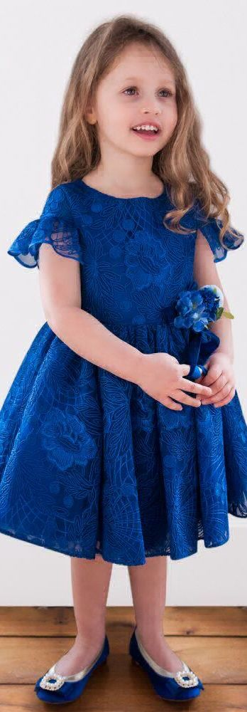 ON SALE !!! Pretty DAVID CHARLES Girls Blue Lace Tulle Party Dress. Perfect Party Look for your Little Princess at her First Ball! Gorgeous Royal Blue Dress with Beautiful Bell Sleeves and a Full, Gathered Skirt. Love the Sweet Floral Lace and Flower Corsage. Perfect Party Look for a Special Occasion or Holiday Party.  #kidsfashion #party #girl #dress #sale