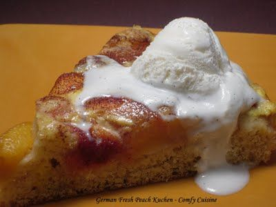 German Fresh Peach Kuchen. I've been looking for a recipe for Kuchen - since I had it at the bakery down the street.