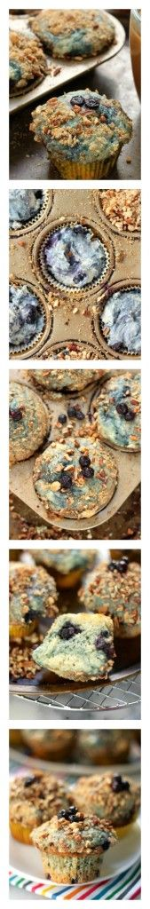 Greek Yogurt Blueberry Crumble Muffins - Baker by Nature