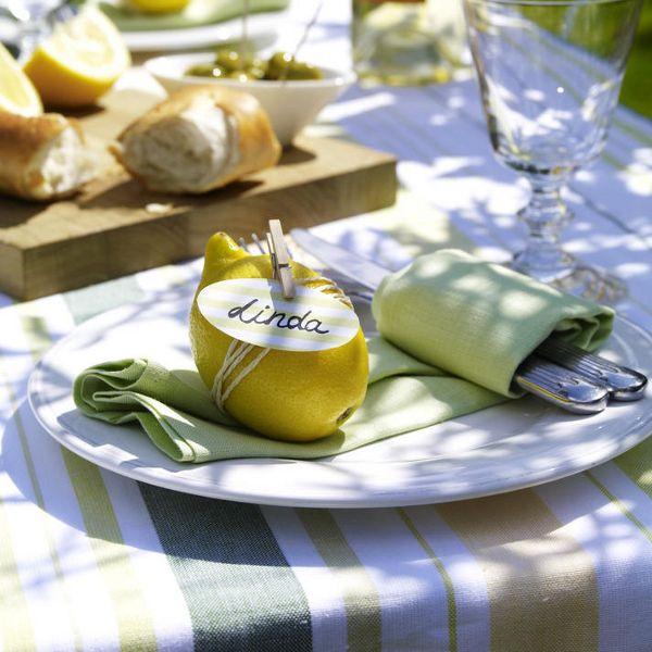 Tischkarten basteln - Namensschild mit Zitrone