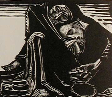 "Kathe Kollwitz. ""Woman in the Lap of Death"" 1921."