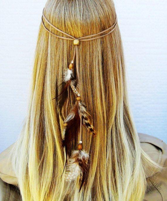 TINY DANCER hippie headband feathers suede