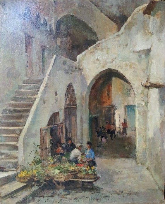 """VALENTINO WHITE (Positano, 1909 - 1986)  """"FRUTTIVENDOLO """"  OLIO SU TAVOLA 50 x 40 cm"""