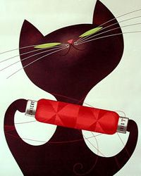 """All I know at this time is that this is a poster of """"vintage european cat with yarn bolt"""". Whatever the year, or brand, this guy is CUTE!"""