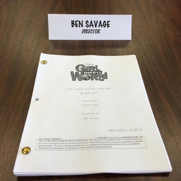 """Photo: Ben Savage Directing Another """"Girl Meets World"""" Episode December 11, 2014"""