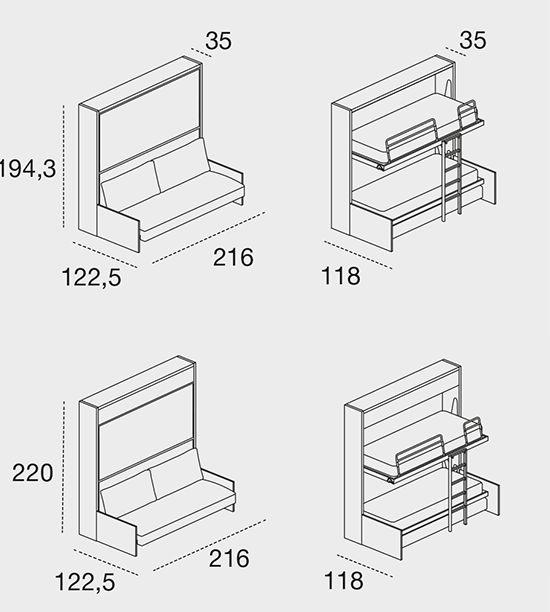 rimuovendo i cuscini di schienale, con l'apertura del letto inferiore il divano con struttura basculante arretra e con movimento traslatorio si posiziona sotto al letto