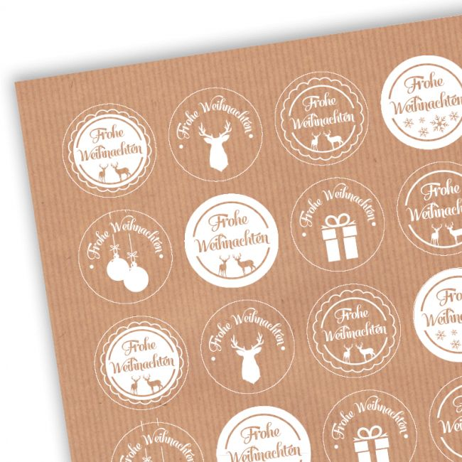 Aufkleber Weihnachten Kraftpapier Mix V | weihnachtsgeschenke verpacken, geschenke verpacken weihnachten, aufkleber weihnachten, sticker weihnachten, etiketten weihnachten, kraftpapier, aufkleber kraftpapier, weißdruck, weiß bedruckt, weiß drucken, kraftpapier mit weißdruck