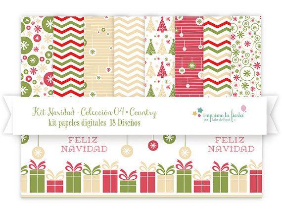 Papeles Digitales Kit Navidad | Paleta Country. Úsalos para hacer tarjetas adornos, scrapbook y más!! por ImprimeTuFiesta