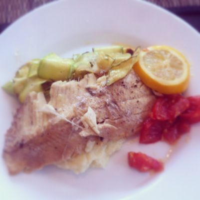 Fresh fish, cauli-mash and courgette ribbons from www.thewannabecook.com #healthy #paleo