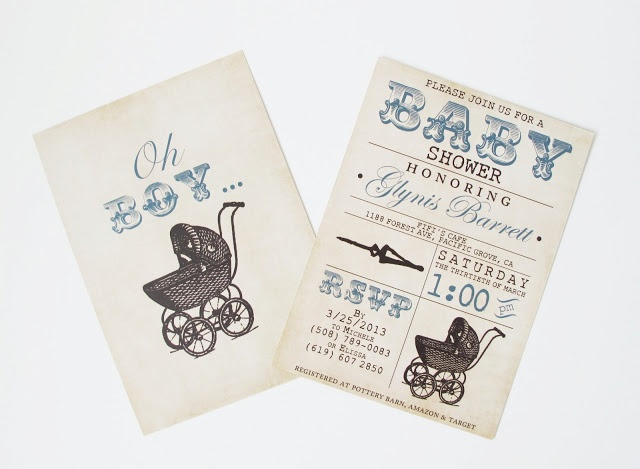 Vintage Baby Boy Shower Invitations
