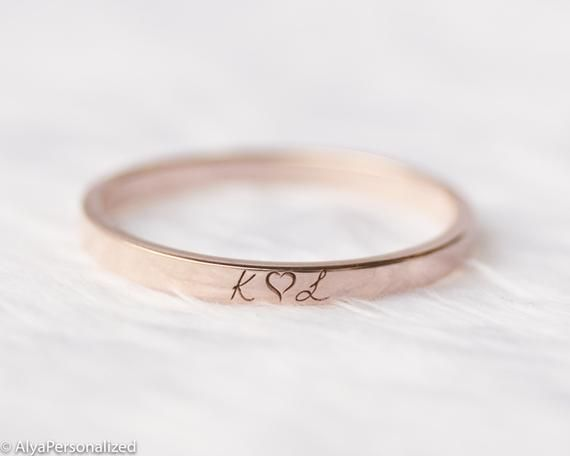 Rose Gold Wedding Band Wedding Bands Women Wedding Ring Etsy Engraved Wedding Rings Etsy Wedding Rings Personalized Wedding Rings