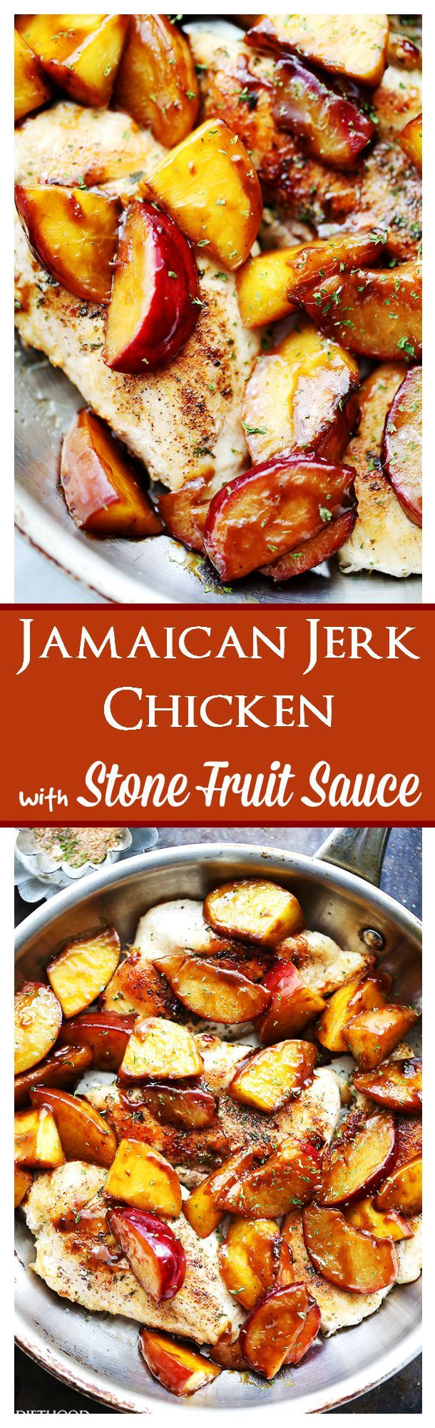 Jamaican Jerk Chicken with Stone Fruit Sauce   www.diethood.com   Easy to make, 30-minute meal including chicken rubbed with homemade jerk seasoning and topped with an incredibly delicious peaches and plums sauce.