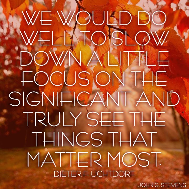 We would do well to slow down a little #focus on the #significant and truly see the things that #matter most. Dieter F. Uchtdorf. #family #relationships #LDSquote #LDS #mormon #mormonquote