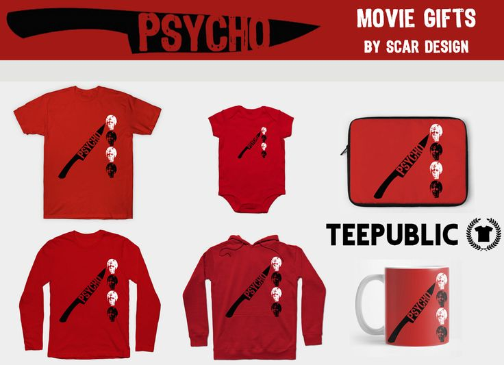Psycho Movie Gifts by Scar Design. #sales #discount #salestshirts #save #gifts #psychomovie #psychomovietshirts #psycho #tshirt #psychoposter #psychomug #psychohoodie #psychomovienotebook #psycholaptopcase #red #serialkiller #normanbates #mother #thriller #horror #teepublic#cinem #movies #moviegifts
