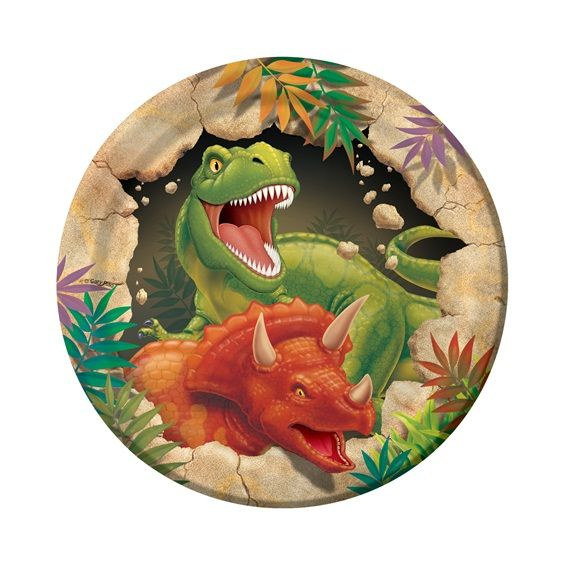 Your little guests will R-O-A-R-R-R with excitement over the dino-mite Dino Blast Dessert Plates!  A ferocious T-Rex and 3-horned Triceratops blast through a wall of rock to roar their happy birthday wishes!  The 7 inch dessert plates are the perfect size for yummy treats like cake and ice cream and coordinate with all of the party supplies in the Dino Blast theme, including invitations and thank you notes, dinner plates, cups, napkins, party favors and other fun decorating accessories…