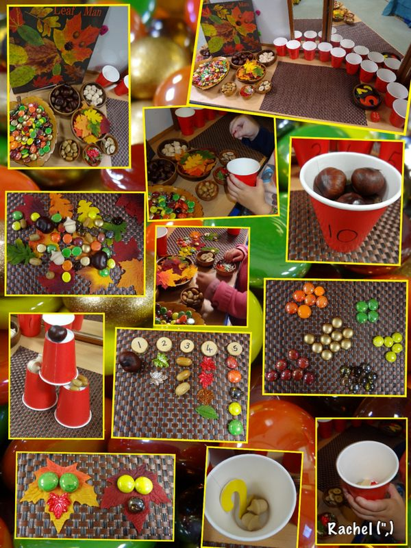 "Autumn maths with loose parts... from Rachel ("",)"