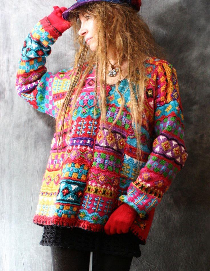 Vintage Dress Sweater 1980s Funky Colorful Cute от MajikHorse