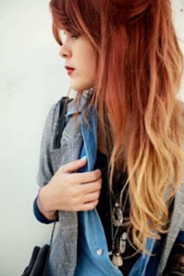 red and blonde ombre hair