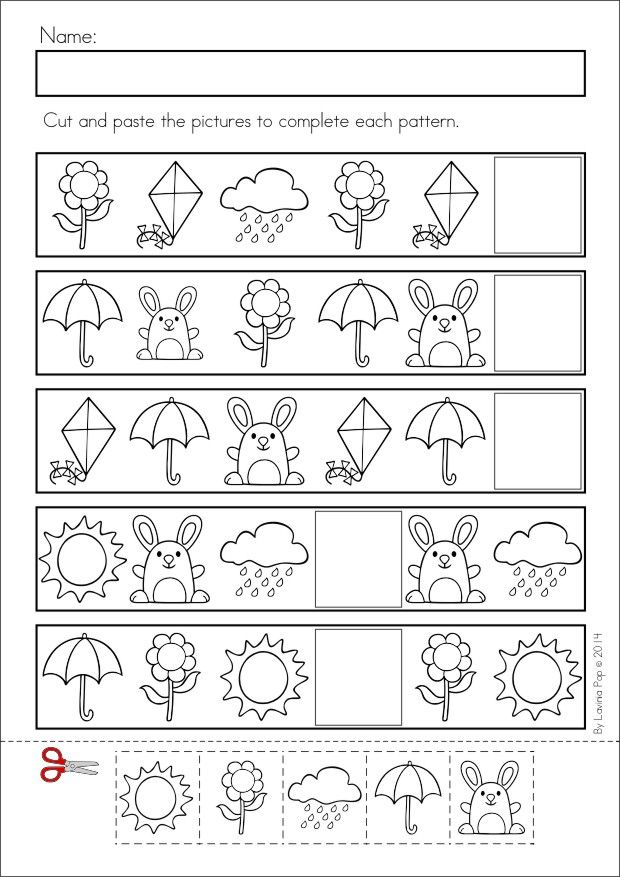 Kindergarten SPRING Math & Literacy unit. 93 pages in total. A page from the unit: Patterns