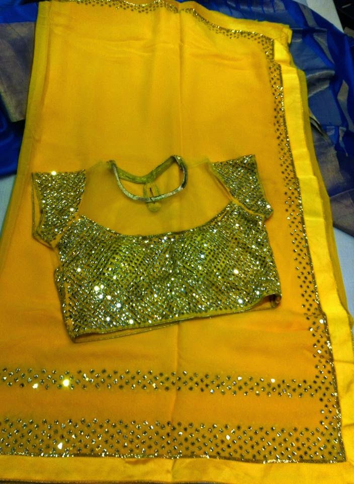 Fancy sarees With Designer Blouse |Buy designer sarees at online | Elegant Fashion Wear Price: 7500 #elegantfashionwear #elegant #yellow #saree #designerblouse