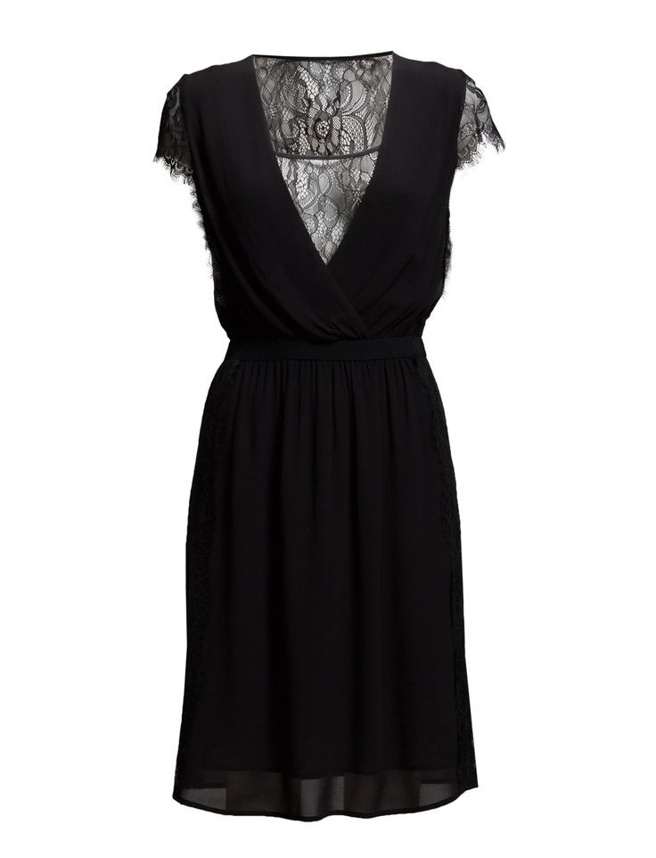 DAY - Day Web Black Dress Inner lining Lace details Ruching Scalloped trim Elastic waistband Sheer back V-plunge at the front Detail down side