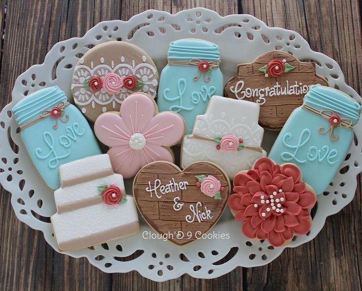 Rustic Country Bridal Shower #decoratedcookies