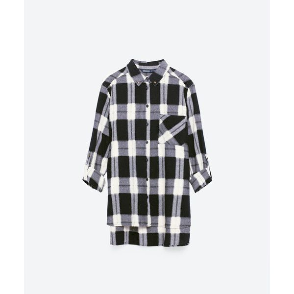OVERSIZED CHECK SHIRT - View all-TOPS-WOMAN | ZARA Canada (580 MXN) ❤ liked on Polyvore featuring tops, oversized shirt, checked shirt, white checkered shirt, check pattern shirt and oversized tops