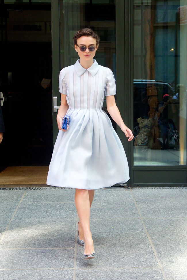 Keira Knightley, fashion, style, summer, party, occasion, sunglasses, up do, collar dress