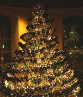 A Christmas Tree made from wine bottles...wine cool!