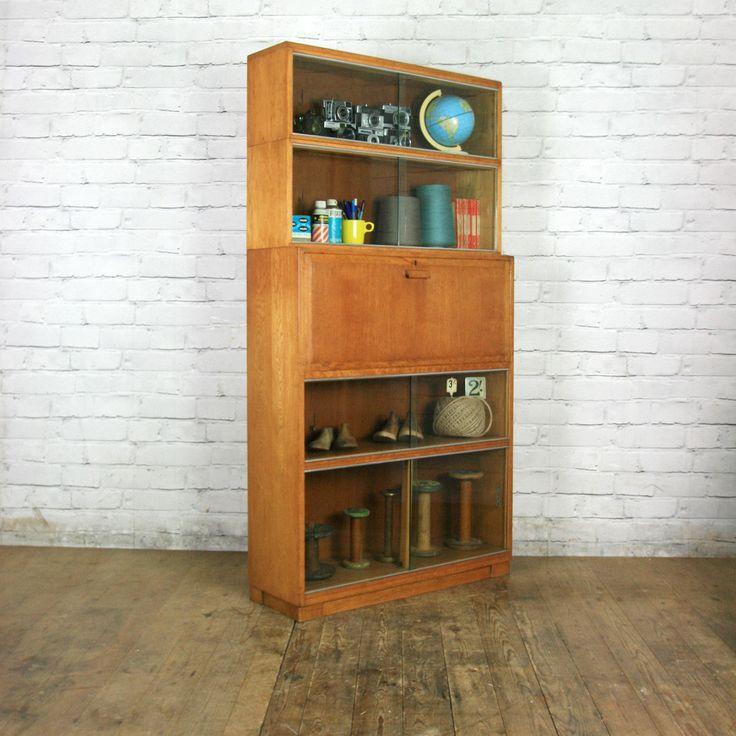 Vintage Oak Sectional Glazed Storage / Shop Display Cabinet / Bureau