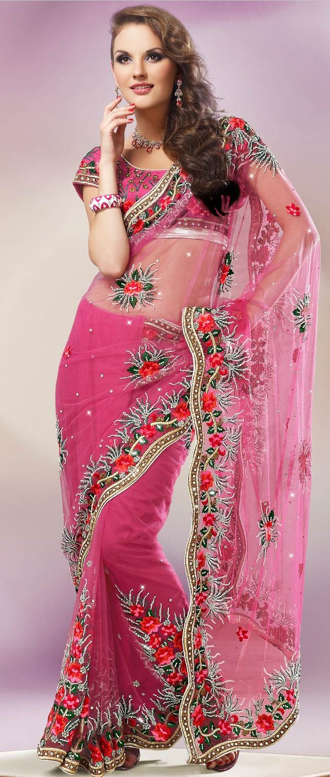 Pink Net Saree With Blouse 234 22 Glittery