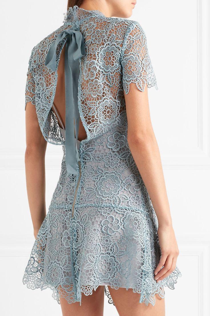Self-Portrait | Open-back guipure lace mini dress | NET-A-PORTER.COM