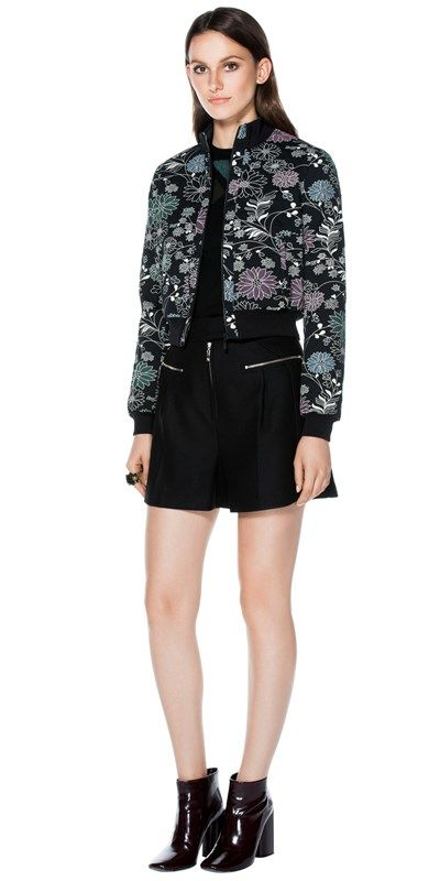 CUE - Floral Jacquard Bomber Jacket