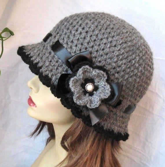 Womens Hat Charcoal Gray Crochet Cloche, Black Ribbon, Flower, Winter, Brim…