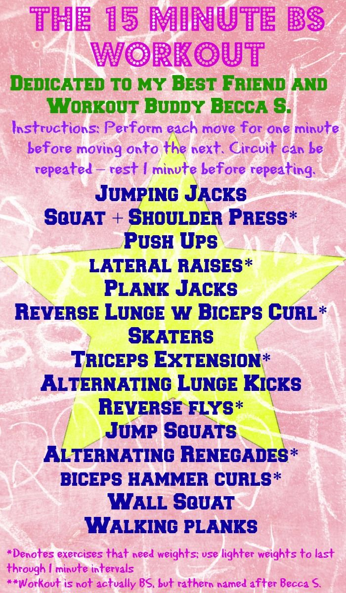 15 minute full body workout...named after my best friend, BS, who loves nothing more than an efficient, muscle-exhausting workout!