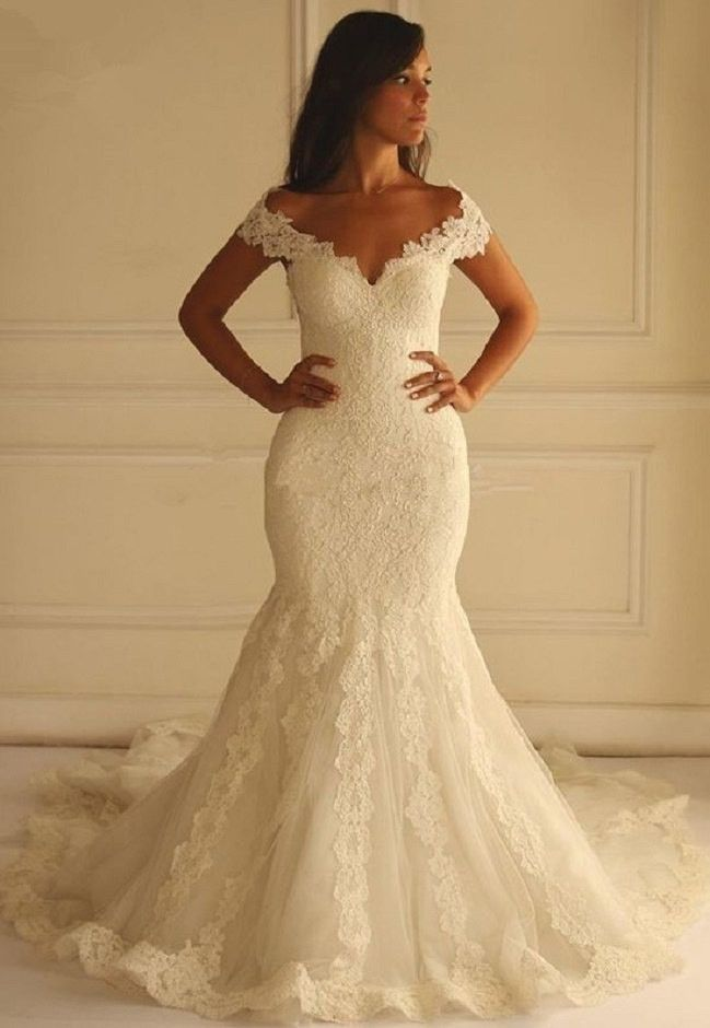 Mermaid Lace Wedding Dress at Bling Brides Bouquet- Online Bridal Shop  #BlingBridesBouquet