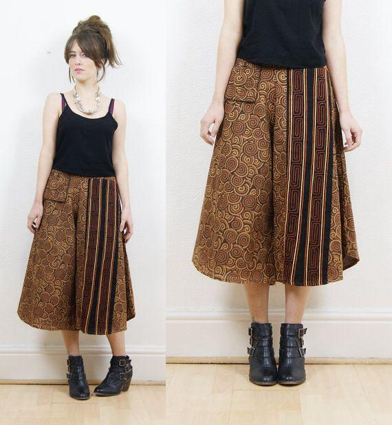 70s boho pants culottes vintage culottes tribal by bohokimono