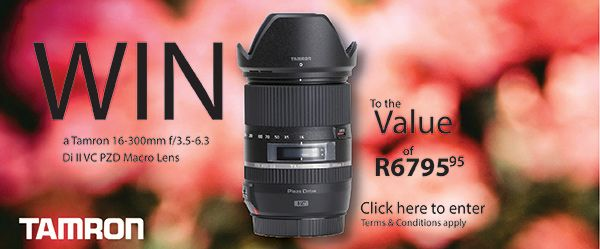 Stand a Chance to Win a Tamron 16-300mm f/3.5-6.3 Di II VC PZD Macro Lens valued at R6,795.95 The New Megazoom Standard Experience previously unimaginable photographic possibilities thanks to the latest optical technology. Expand your creative possibilities in every situation with this revolutionary 18.8x zoom, developed by the pioneers of [...]