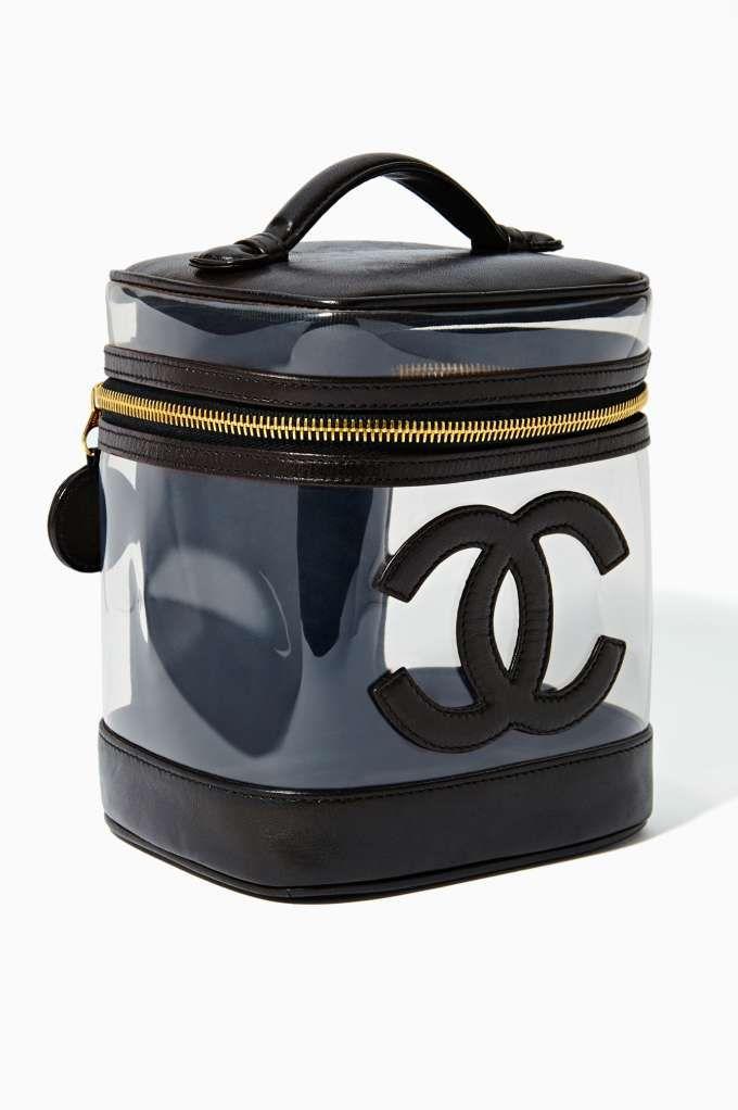 Vintage Chanel Black Leather Vanity Bag