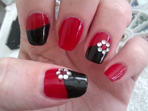 80 best easy nails images on pinterest plain nails pretty nails simple diy nail art designs easy red and black nail design with rhinestone flowers prinsesfo Choice Image