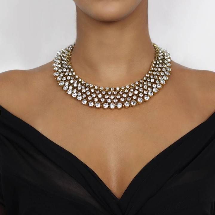 stunning, elaborate statement bib necklace  #Ad  Full layer of clear rhinestones on a gold base The perfect statement piece to treat yourself or to present as a gift A full, bib necklace and statement style made to suit all seasons of the year This necklace is the ideal addition to a simple outfit, both formal and casual. It gives the impression of being elaborate and dressy however is lightweight and comfortable allowing it to be worn with ease for the entirety of the occasion