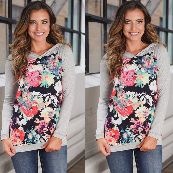 Womens Autumn Long Sleeve Blouse Loose Fit Hooded Slim Fit Floral Shirts Top Tee