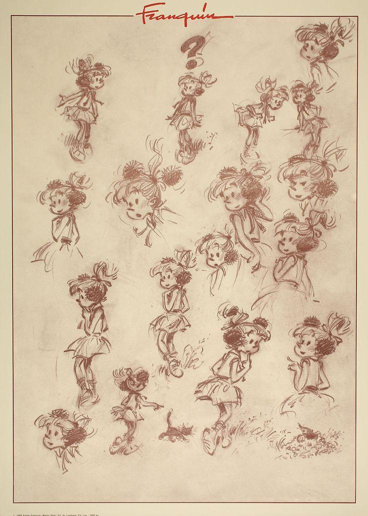 Franquin - Croquis de Pompon, personnage de Modeste et Pompon, bande dessinée par Franquin de 1955 à 1959.