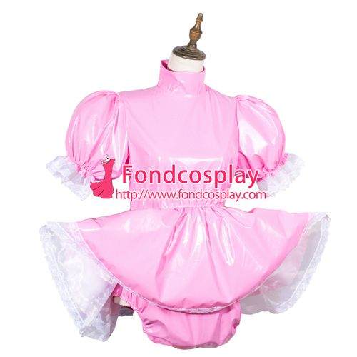 Sissy maid pvc dress lockable Uniform cosplay costume Tailor-made[G3780]