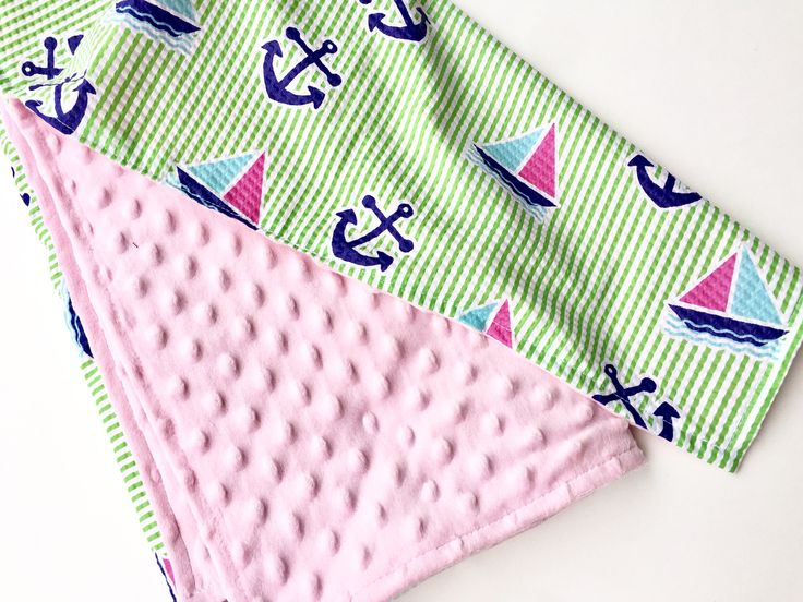 Baby Girl BIG Blanket Minky Blanket Security Blanket Toddler Blanket Carseat Blanket Cute Baby Gift, Pink Minky Green Stripes Sailboats by SewABC on Etsy