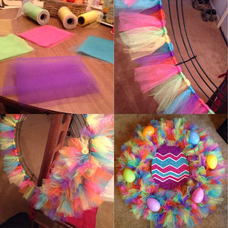 Easter tulle wreath! I just tired single layers of tulle around a wire wreath, and the egg center came from Walmart for $1.97! Total cost of wreath was under $10. I hardly made a dent in my tulle spools.