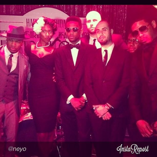 Honey+Vinyl pose with Ne-Yo &  Fabolous, after performing for the rapper's birthday party in NYC in 2013.