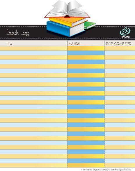 Book Log   #booklog  http://imom.com/tools/training-tools/book-log/