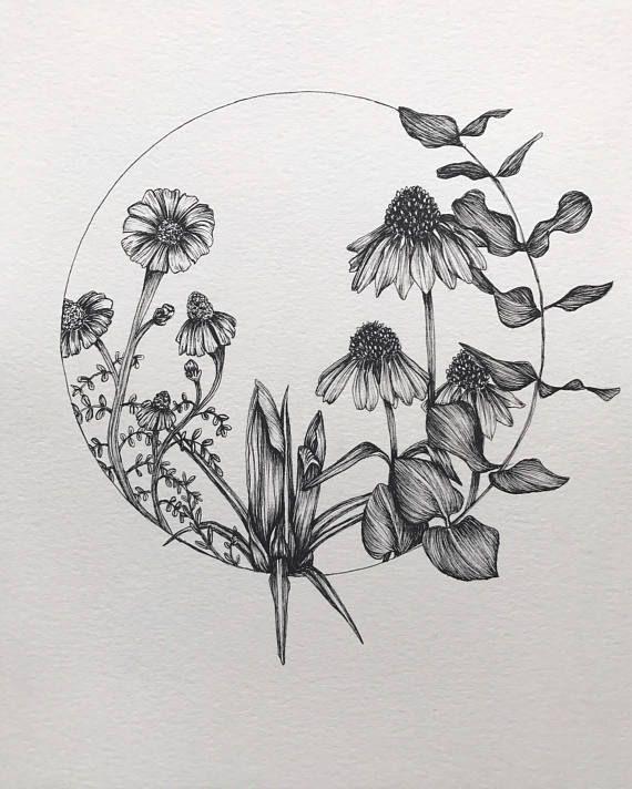 Wild Flower Circle Original Ink Drawing Circle Tattoos Wildflower Tattoo Circle Drawing