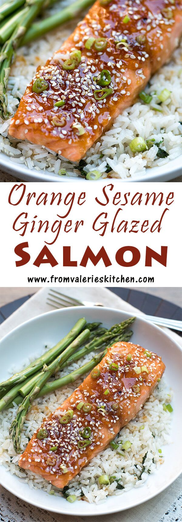 A slightly sweet and super flavorful glaze creates this irresistible Orange Sesame Ginger Glazed Salmon. Super simple to prepare, ready in under 30 minutes! ~ http://www.fromvalerieskitchen.com